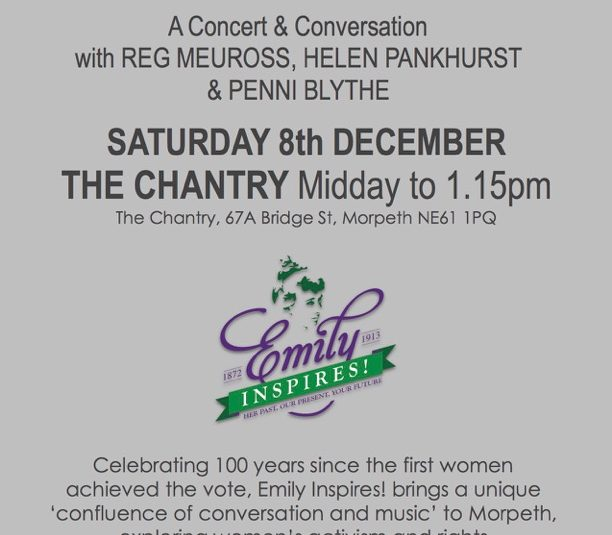 Emily Inspires!  A Concert & Conversation with Reg Meuross, Helen Pankhurst & Penni Blythe