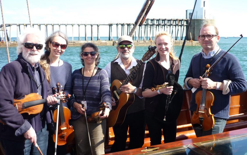 Museums Northumberland Collections-Morpeth Chantry Bagpipe Museum-Windy Gyle Band leaving the harbour for Whitby